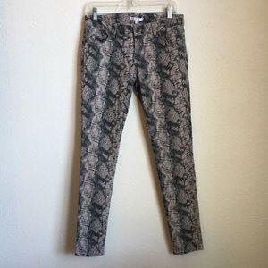 CAbi Snakeskin Skinny Jeans #958 Size 4